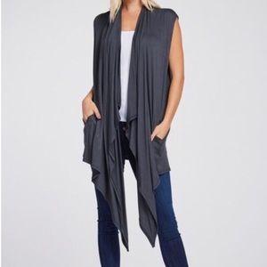 Jackets & Blazers - Slate Gray Waterfall Cardigan Vest Size Small